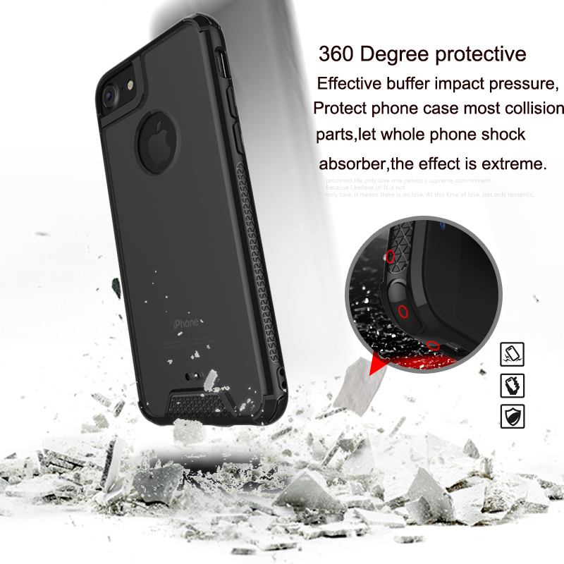 Smartphones 2017 TPU+Acrylic Shockproof Clear Transparent Phone Case For Iphone , For Iphone 7