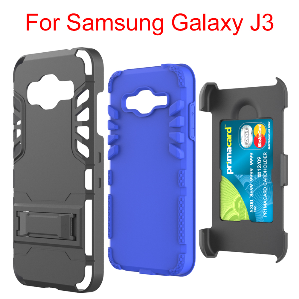 Factory Wholesale Case For Samsung J3,Card Slot Holster With Kickstand Mobile Phone Case