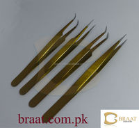 Most beautiful golden colour in eyelash extension tweezers / eyelash extension tweezers / professional eyelash tweezers