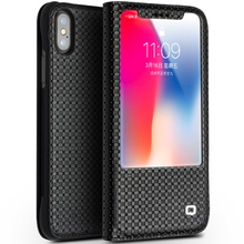 QIALINO Hot Brand New Arrival Real Genuine Leather Window View Flip Cover For Apple iPhone X Case luxury