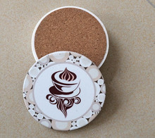 Round 4 color printing water absorbent ceramic stone coaster