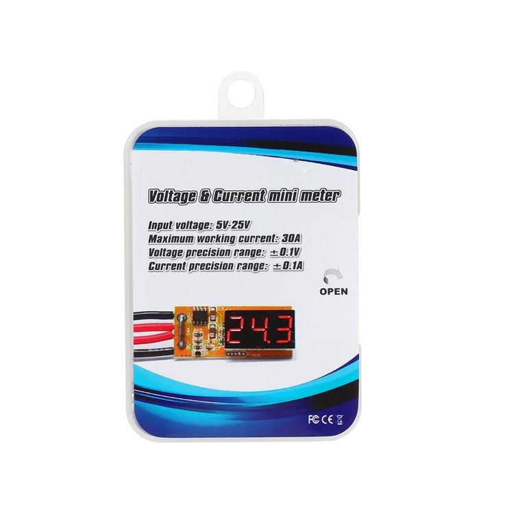 911106-Voltage - Current Mini Meter Tester 5V-25V 30A for RC Airplane Helicopter Car