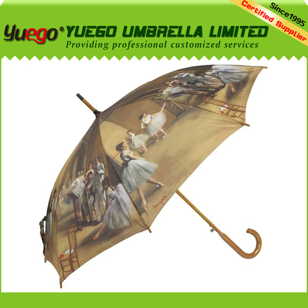 2017 auto open carved wooden duck handle straight umbrella