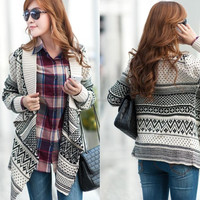 2015 Long loose sweater cape cardigan sweater women knit sweater for young girls