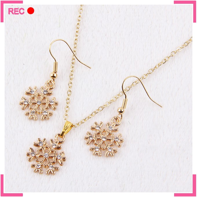 Light weight imitation gold necklace set for women, snowflake shaped cheap necklace and earring sets