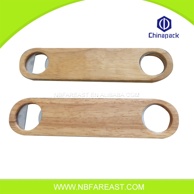 Multifunctional popular wooden promotional flat bottle opener