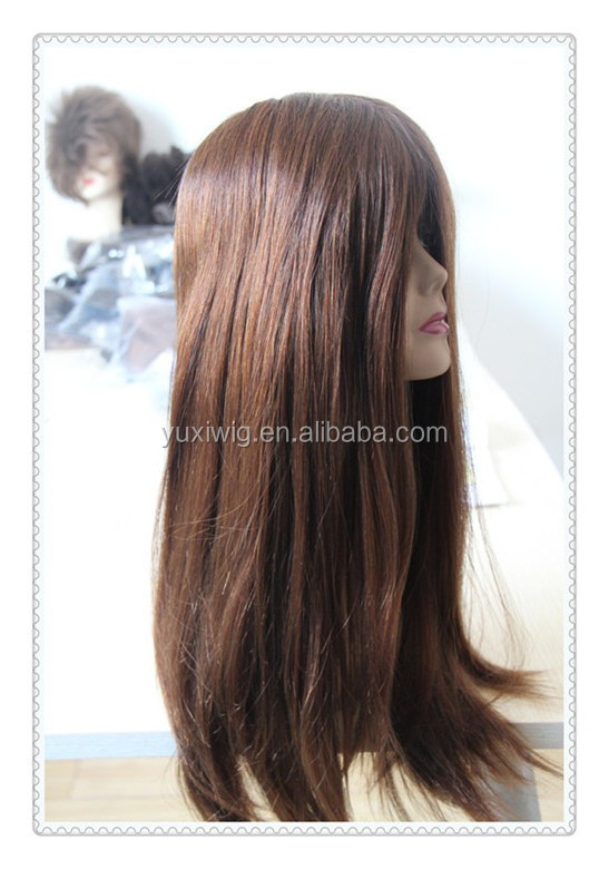 2016 Burgundy Brown Silky Straight Mono PU Full Lace Human Hair Wig,Burgundy wig for women