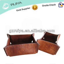 Twin Molded Formed Leather Tray Boxes Square Tray Desk Accessory Set Mottled Brown Handmade Leather Vessels Tray