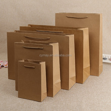Recycle low cost foldable customized logo print carry kraft paper shopping bag