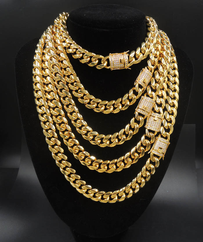 14mm Miami Cuban Link Chain CZ Clasp 18k Gold Plated Stainless Steel <strong>Necklace</strong>