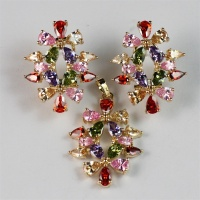 Flower Shape 16k Gold Plated Multi Color Zircon Fashion Jewelry Set Made in China