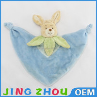 promotional customized pink stuffed plush bunny rabbit head shape winter hat with matched scarf&pocket