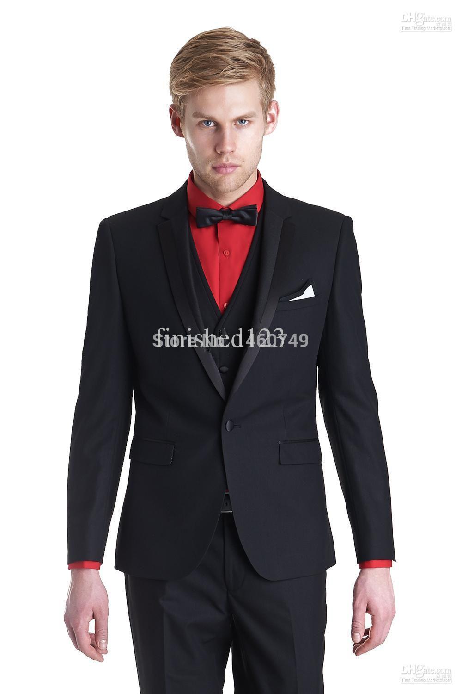 Black Mens Wedding Suits Slim Fit Groom Tuxedos Best Man Suits Jacket+Pants+Vest