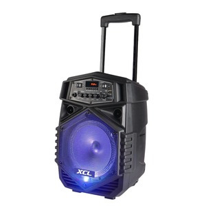 "Cheap price 8"" Portable Trolley Speaker Blue tooth LED Light with Wireless Microphone Remote Control FM SD USB Port"
