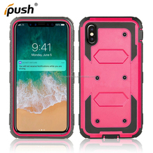 Three Proofing case TPU + PC case with holster 3 in 1 shockproof mobile phone case for iphone X /10 Kickstand cell phone cover