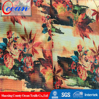 Heat Transfer Delicate Flower Design Tropical Print Fabric