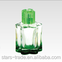 90ml green and purple coating perfume glass bottle with sulyn caps