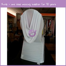 YT10313 round back spandex swag ruffled chair cover with valance