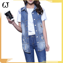 J9133#Stock 2017 new fashion sleeveless ripped female patch wash jacket vest jeans denim vest wholesale for women
