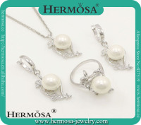 Hermosa 925 Silver Jewelry Big Stone White Round Freshwater Pearl Topaz Wedding Jewelry Sets