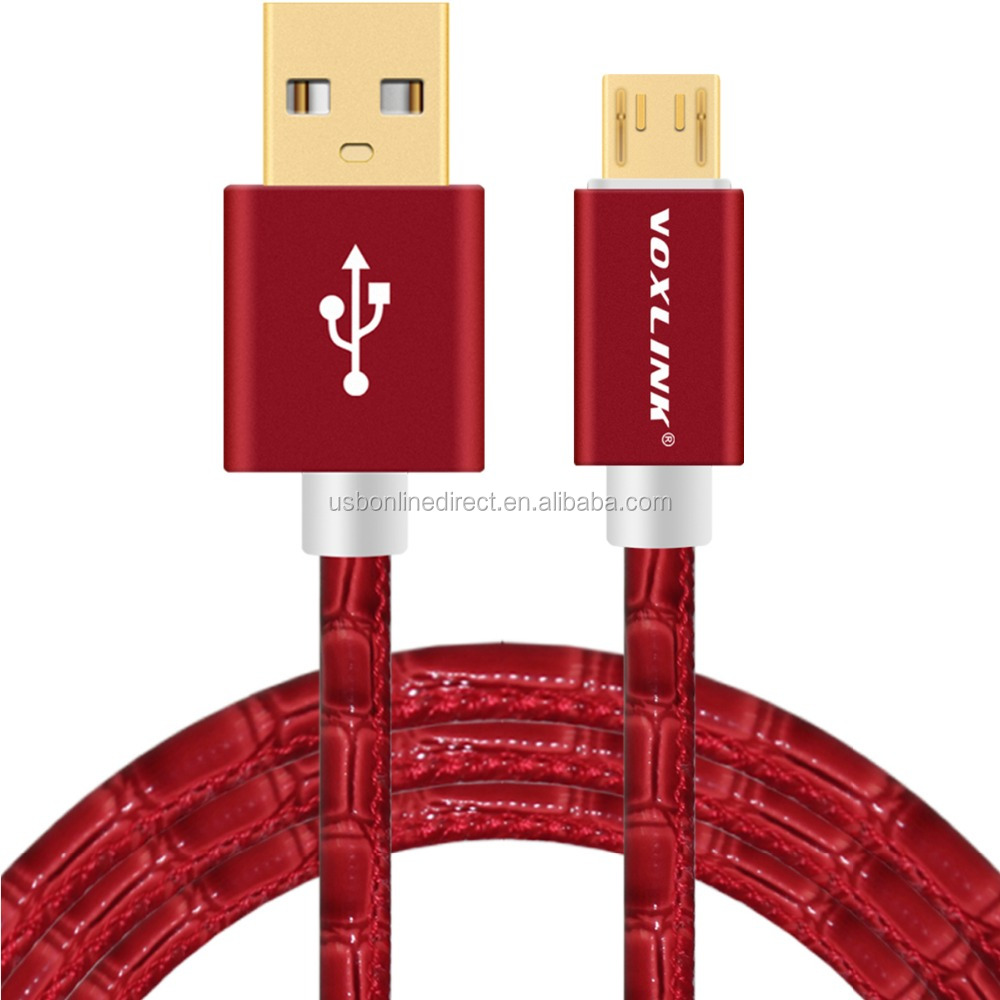 VOXLINK Crocodile Gold Plug mirco usb cable Sync Date Charging Cable micro red 1m
