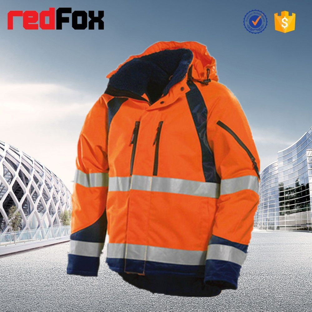 safety refleective fur hood padded men winter jacket