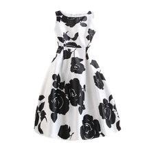 Women A-line Dress Vintage Black Floral Printed Sexy Sleeveless Party Vestido De Festa Female Clothing Vest Party Dresses