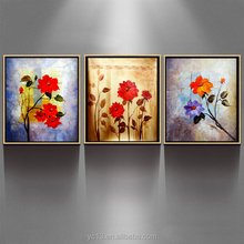 Hand-painted flower Oil Painting with Frame - Set of 3 CT-76