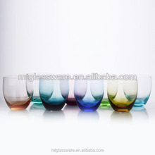 Colorful glass cooper tumblers,stemless wine glasses.glass wine cooler