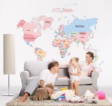 New Arrival Removable Pvc Home Decor World Map Letter Vinyl Sticker Wall Stickers