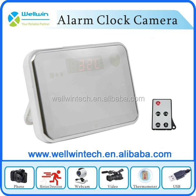 New Design Digital Clock Camera with Remote Control,140 Degree