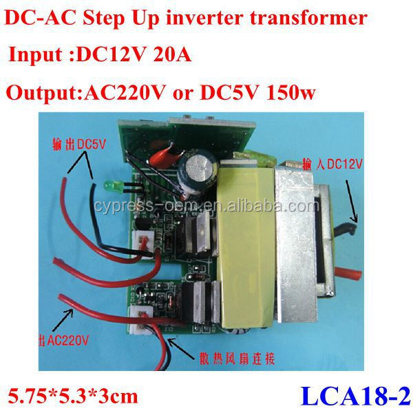 DC to AC step up power inverter transformer converter module DC12V 20A max to AC220v/DC5v 150w ,accept werstern union