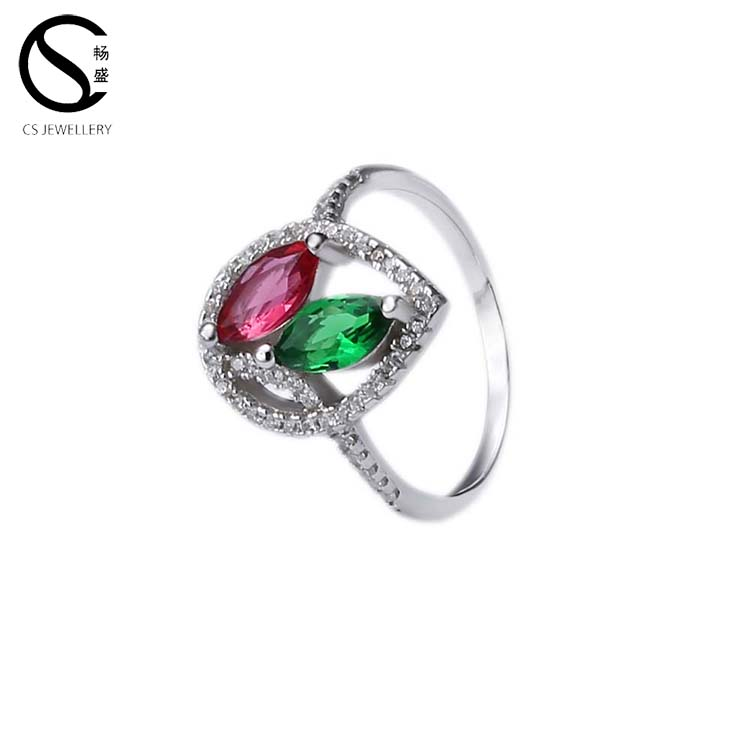 Cheap Wholesale red and Green diamond beautiful engagement jewelry rings