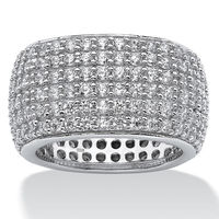 Dome shape cz mirco pave mens ring wide band Cubic Zirconia Eternity Band ring