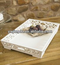 white carved painting shining wooden fruit tray