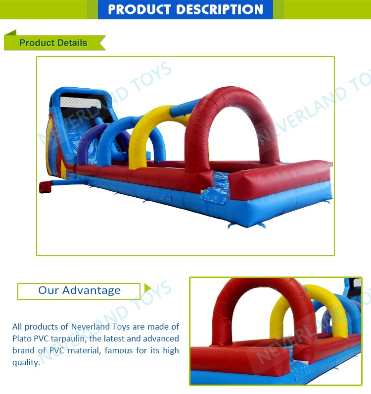 Funny NEVERLAND TOYS Commercial Pool Slides Inflatable For Kids Colours Water Slide For Sale