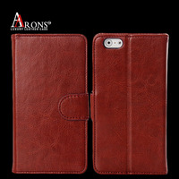 Crazy horse genuine leather wallet cell phone case for iphone 6