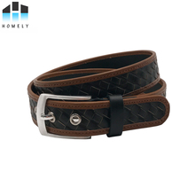 H100961 Braided belt metal eyelets mens belt