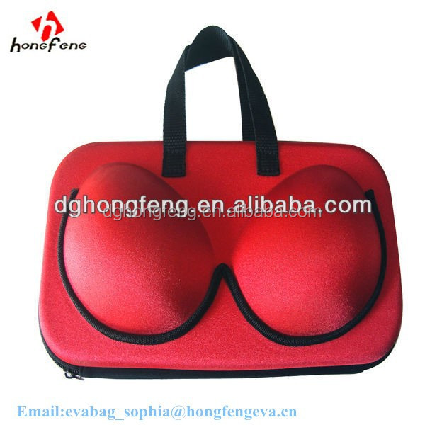 2014 garment bags wholesale fashion red portable EVA bra case underwear travel bags