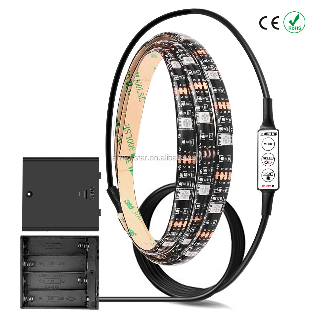 High Brightness Battery LED Strip Light RGB/Warm/Cool White SMD 5050 Waterproof IP65 String 4*AA Battery Operated 2m/1m/0.5m