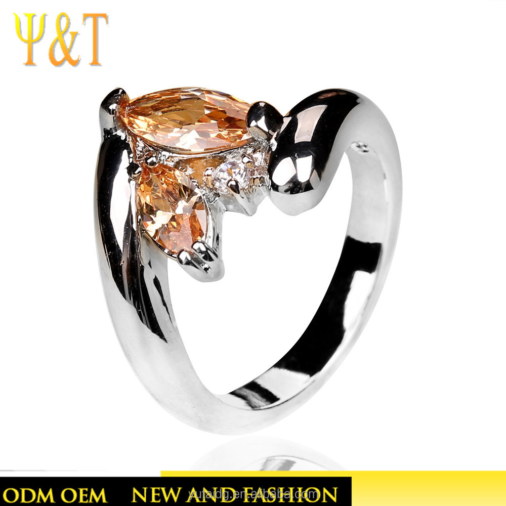 Jingli Jewelry Top Selling Products In Alibaba Special Designs Orange Gemstone Zirconia Silver Ring(YJ-755)
