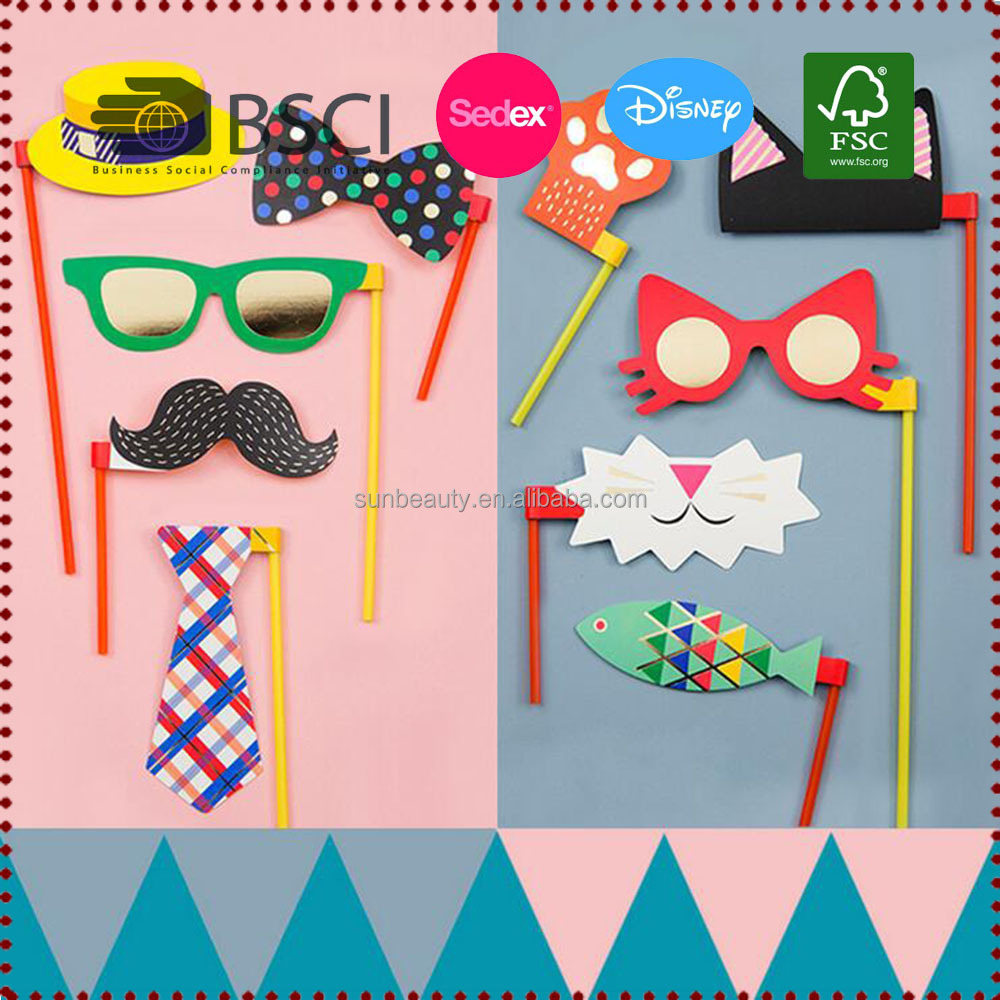 10pc Colorful DIY Photo Booth Props Party Props for Kids Party