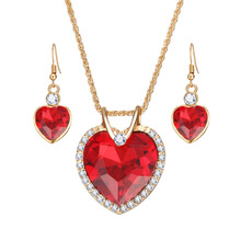 Fashion Gold Heart Crystal Necklace Set bridal jewelry set NS800663