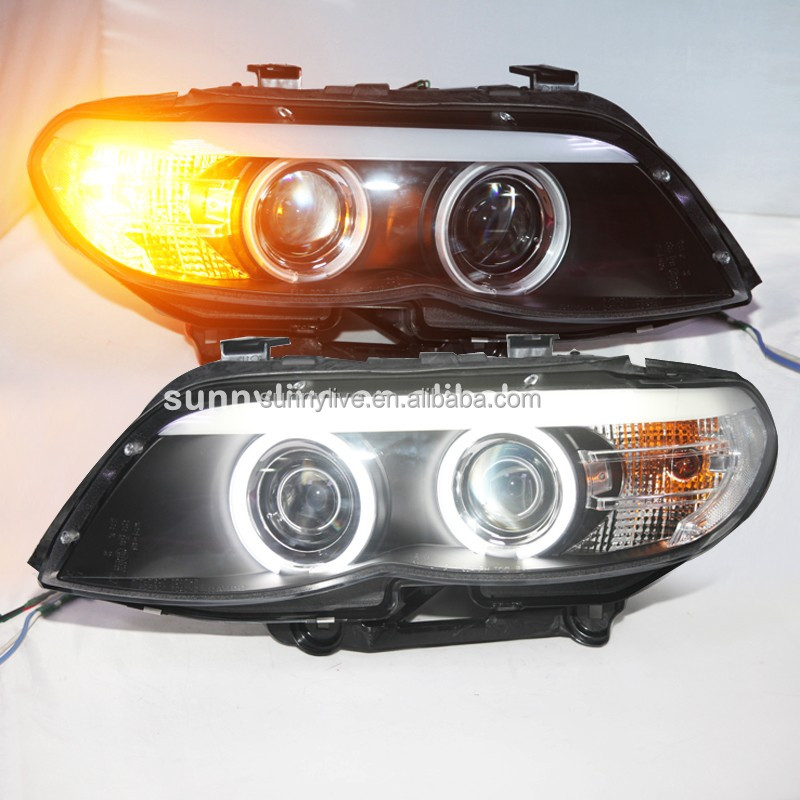 For BMW X5 E53 CCFL Angel Eyes Head Light Lamps 2004-2006 Year Black Housing SN
