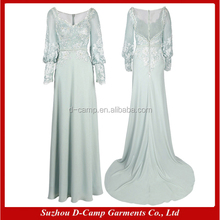 ME003 Lace chiffon long sleeves bohemian style mother of the bride dress for muslim mother of the bride