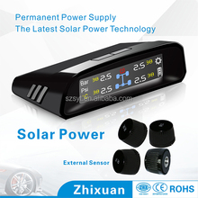Solar Power Wireless Car Tpms Tire Pressure Monitor System with 4 Internal Cap Sensors 433.92mzh