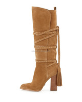 Catwalk Branded Design Suede Leather Women Boots Heels Fashion Brown Tassel Boots Custom Made Large Size High Heels Boots