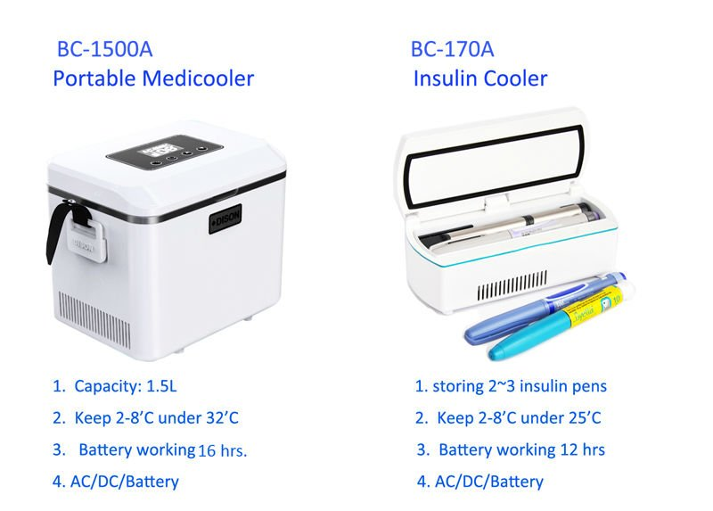 2-8'C Battery Powered Medical Portable Cooler Box for NOVO pen and Insulin