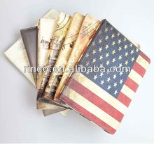 Deluxe Retro Places of Interest with UK USA France Italy Flag Leather Case for Apple iPad 2 3 4