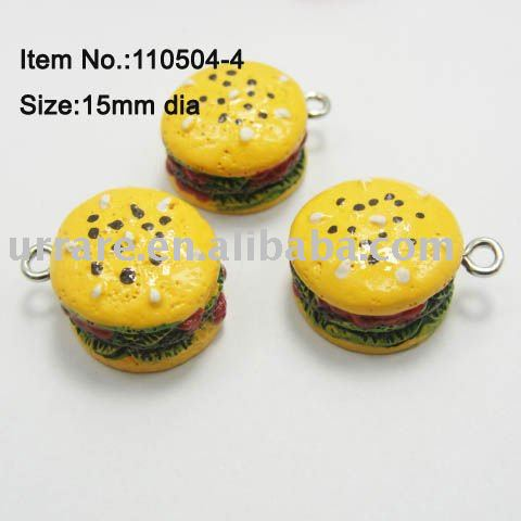 15mm Resin Hamburger Jewelry Charm